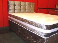 Crushed Velvet King Size Divan Bed and Memory Foam Mattress