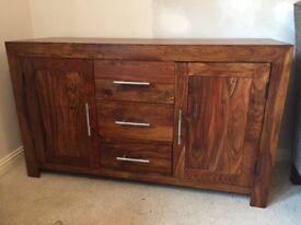 Dark Oak Side Board Cabinet