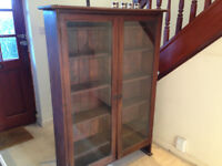 Antique Victorian Two-Door Display Cabinet in Solid Wood 112 wide, 158 high and 28cms deep