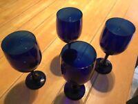 Blue Wine Glasses x 4