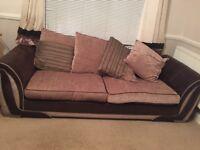 DFS 4 seater sofa brown/cream