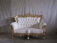 BRAND NEW 3 Piece Set Suite Venice Chaise Gold Leaf Rococo Antique Gothic Baroque French Wedding