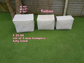 Set of 3 matching new hampers fully lined