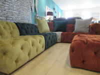 Brand New Ex display Alexander & James 5 piece Baker Chesterfield corner sofa with Velvet touch.