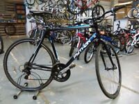 PYTHON RX4 FLATBAR ROAD BIKE 700C WHEELS 14 SPEED ALLOY BLACK/BLUE GOOD CONDITION