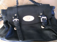 Brand New Lady's Black Leather Satchel Type Hand Bag. Rope Detail to Handle. With Shoulder Strap