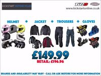 GREAT DEAL -MOTORCYCLE HELMET ,TEXTILE JACKET AND TROUSERS AND GET FREE GLOVES £149.99 W/PROOF ETC