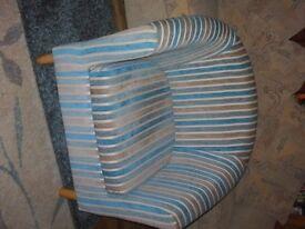 Blue striped tub chair