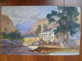 Original Watercolour - Rural Scene with Church and Mountains - European/South American?