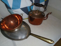 Copper bowl, copper oval fish pan and copper kettle £30 the lot