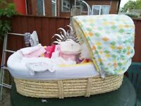 NEW MOSES BASKET ON STAND WITH NEW ACCESSORIES. LEIGH, WN7