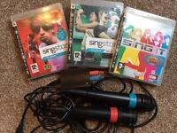 2 PS3 Singstar's official microphones & 3 Singstar's discs