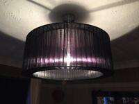 Light shade and matching lamp - black sheer ribbon material/crystal