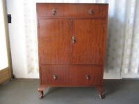 VINTAGE MAHOGANY VENEER TWO DRAWER TALLBOY WITH LARGE SHELVED CUPBOARD FREE DELIVERY