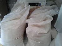 Bags of fine sawdust