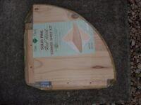 Pine Corner Shelf Kit and 4ft Long Pine Shelf (still in packaging)