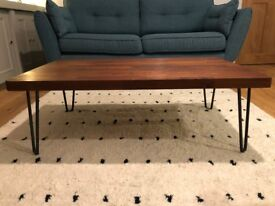 Solid teak coffee table with hairpin legs