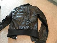 ONLY leather jacket, brown, size xs