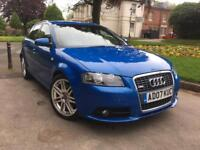 AUDI A3 2.0 TDI S LINE QUATTRO 170BHP 2007 5 DOOR SPORTBACK RARE FACTORY SPRINT BLUE FULLY LOADED
