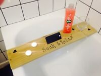 Bath Caddy With FREE Wine Glass And Candles. Can Be Personalised For FREE With Any Name Or Saying