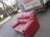 Oxblood red leather 2 seater sofa