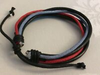 Surfer Style Leather Red Blue Cord Strand Bracelet For Stylish Young Men