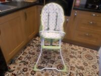 Baby's High Chair as New ,Washable, With straps and Safety Features