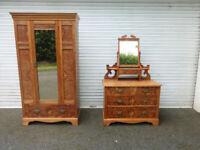 Victorian Bedroom Pair - Wardrobe and Dresser