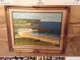 Framed Painting of Whitepark Bay Co Antrim