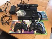 Xbox 360 slim with kinect plus games and controllers