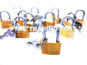 12-X-BRASS-PADLOCKS-FOR-SUITCASES-CASE-BAGS-LUGGAGE-TRAVEL-SHED-12C