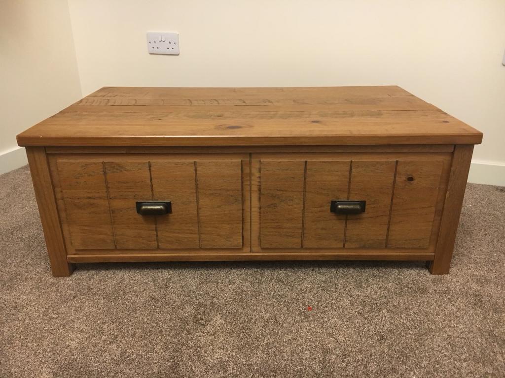 Solid oak coffee table storage