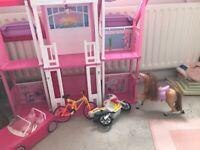 Barbie house, furniture, barbie horse. Dolls car, dolls bike and motorbike