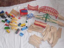 Childrens wooden train set