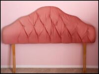 Dralon-covered headboard for 4ft 6inch bed.