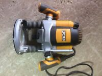 """JCB Router. 2100W, 1/4"""" and 1/2"""". Includes 6 piece router bit set. Hardly used."""
