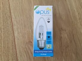 45x Opus ES/E27 energy saving halogen candle light bulbs £15 for quick sale