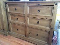 Solid pine wardrobe and chest of draws for sale £100!!!