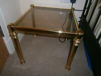 Solid brass side table with glass top - from Reid's great condition