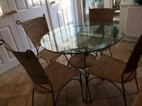 Round glass table 4 wicker chairs ideal for breakfast room/ conservatory , Free del this wend only