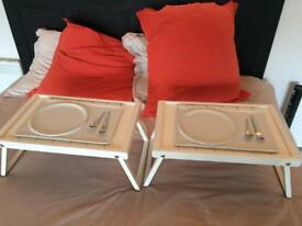 "Set ""Breakfast in bed"" 2 plates+2 trays"