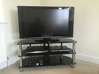 Full HD 37 inch HD Panasonic Viera LCD television (TX-37LZD70) with black glass stand
