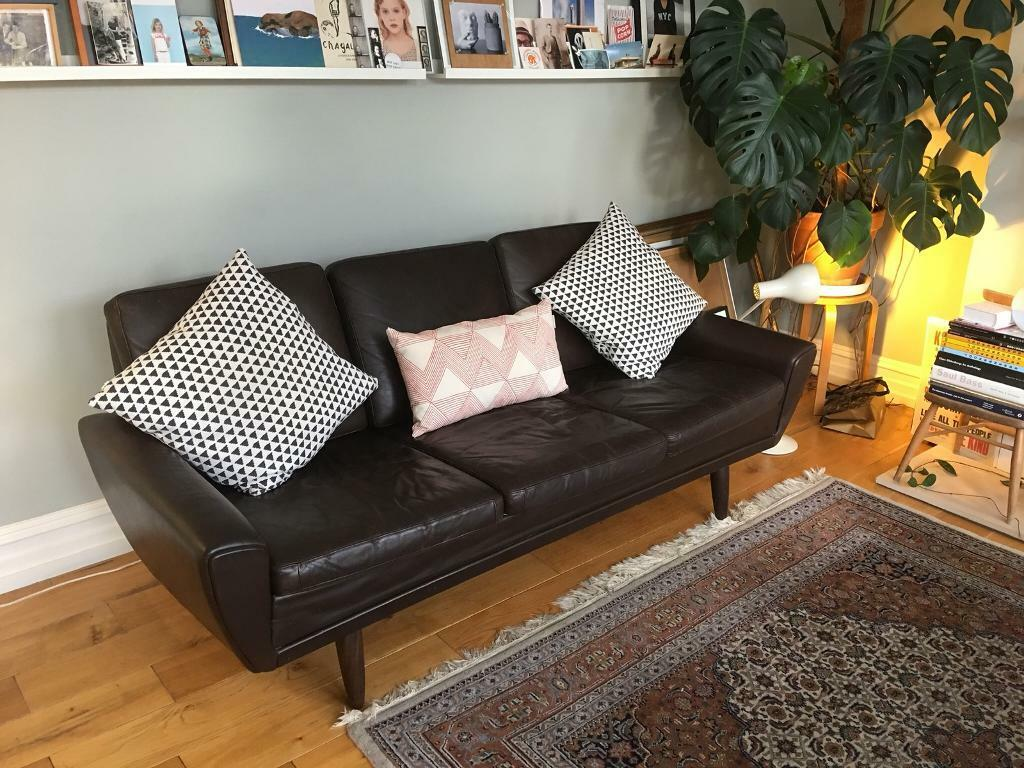 Vintage 1960 S Danish Mid Century Modern Sofa In Dark Brown Leather In Willesden London Gumtree