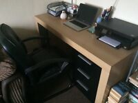 Solid Wood and Black Glass Office Desk