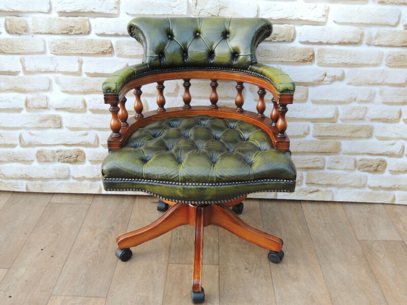 Antique Green Captains Chair (UK Delivery) for sale  Lewisham, Greenwich