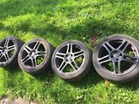 Black Honda Civic 17 inch wheels, tires all very good fits type r or any civic
