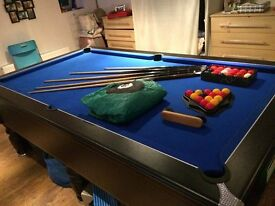Pool Table (8ftx4ft). World Championship 8 ball Table, Strachan cloth, Aramith billiard balls.