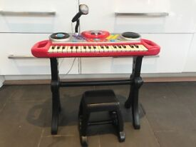 Children's electronic keyboard with microphone and stool