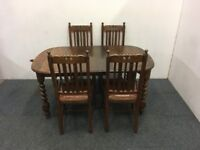 Vintage Solid Oak Crank Extending Dining Table With Four Matching Dining Chairs