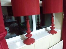 2 large red ceramic lamps